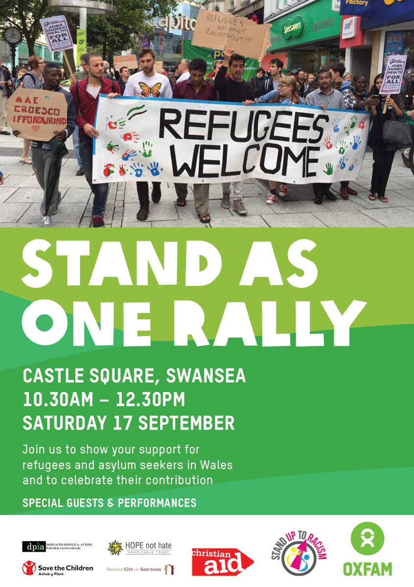 Join us to #StandAsOne with refugees and asylum seekers on 17 Sept in Swansea bit.ly/StandAsOneRally