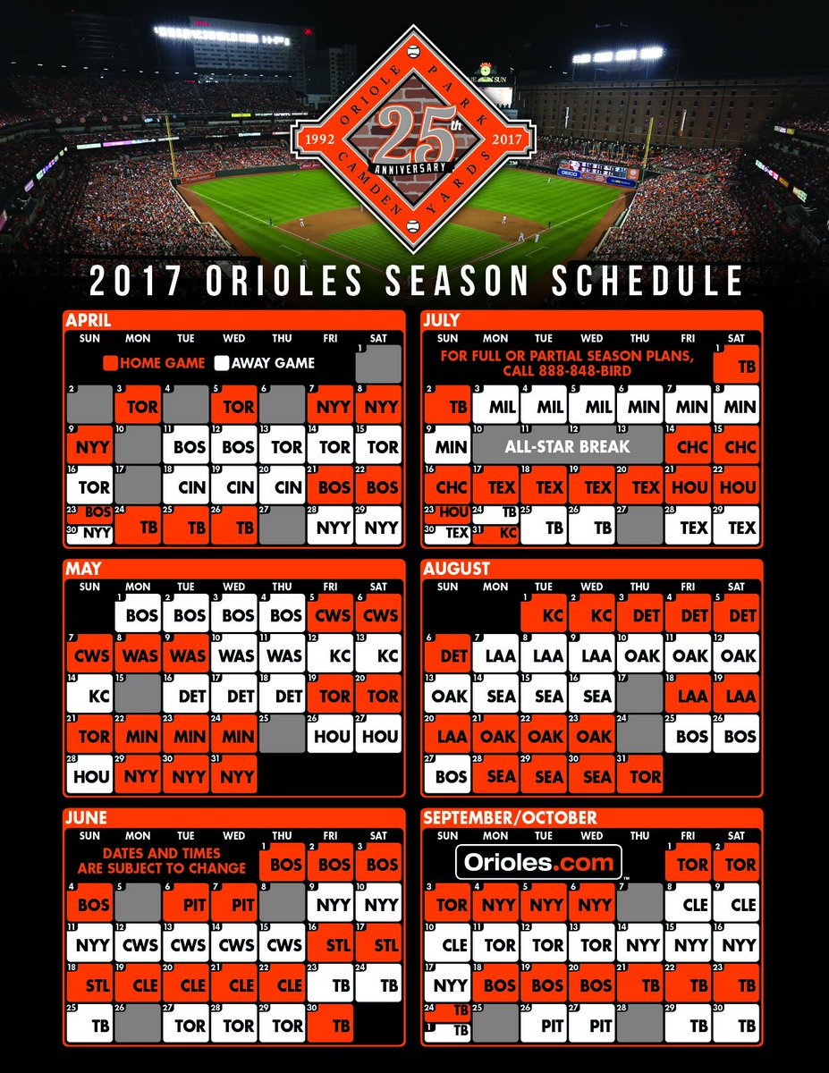 photo about Baltimore Orioles Printable Schedule identified as Baltimore Orioles в Twitter: \