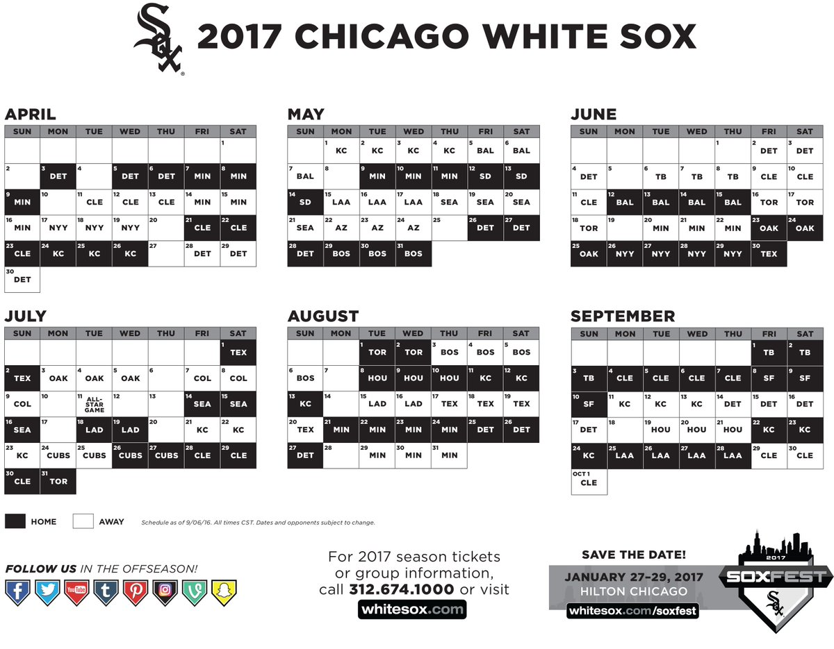 photograph about White Sox Printable Schedule called Chicago White Sox upon Twitter: \