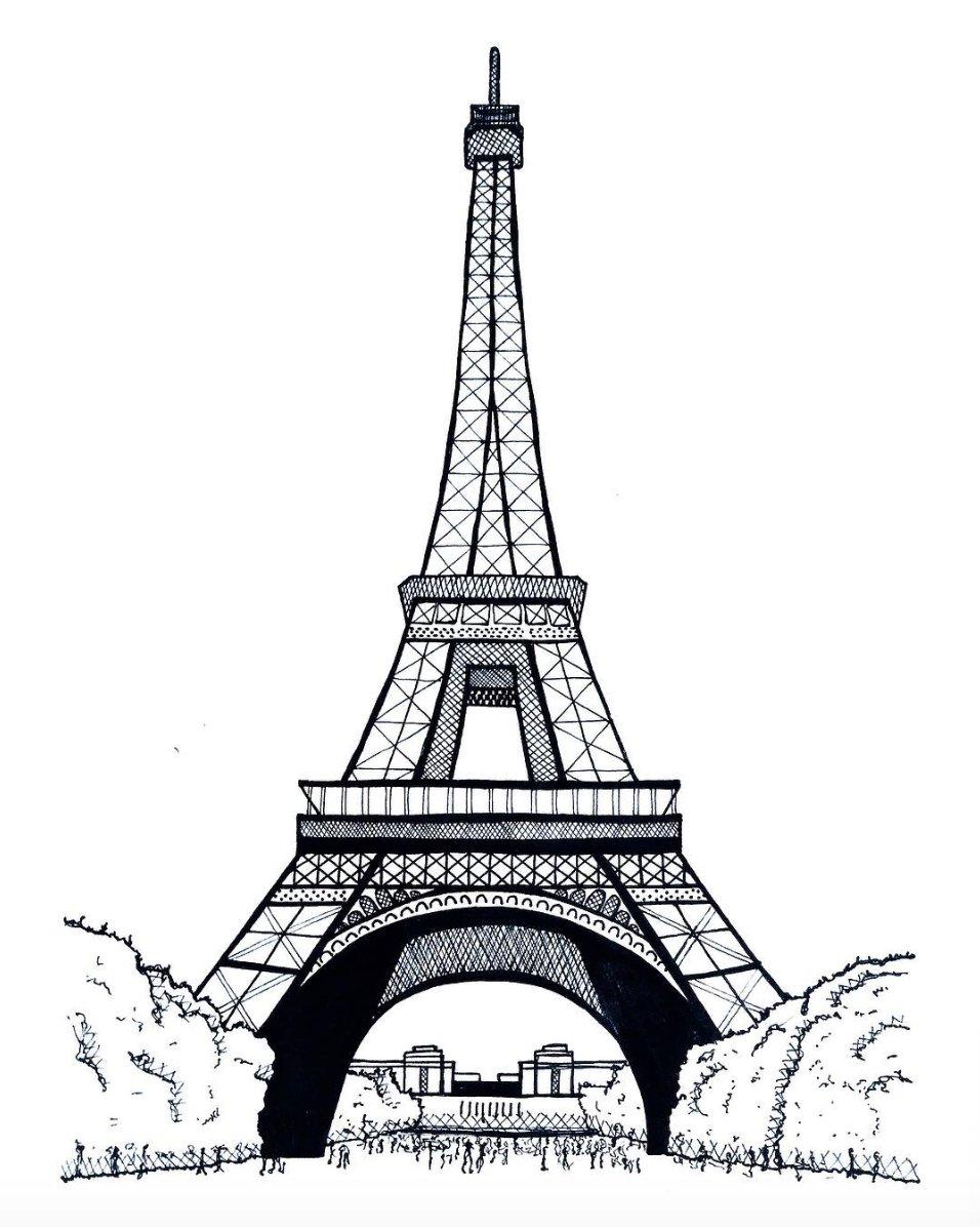 первой эйфелева башня картинки нарисованы карандашом легче различают