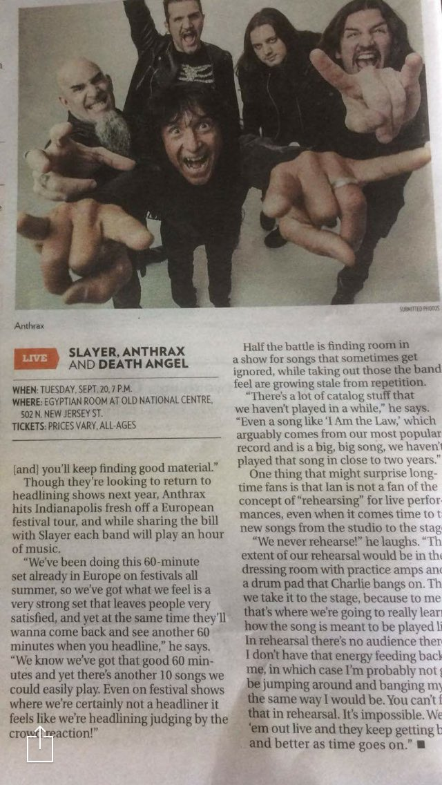 Thanks @NUVO_net for plugging the @Slayer @deathangel and @Anthrax show at @OldNatlCentre 9/20! https://t.co/nxudCtdpOm