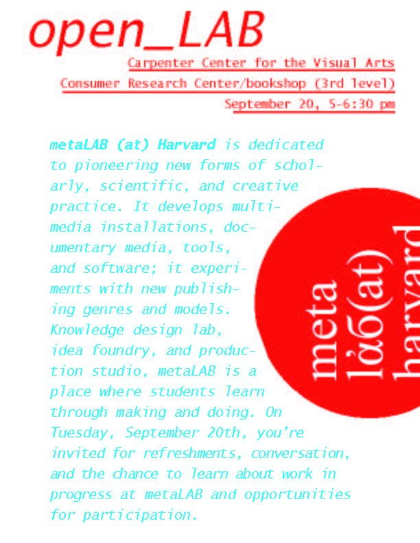 TUES 9/20, CONSUMER RESEARCH CENTER BOOKSTORE, CARPENTER CENTER FOR THE VISUAL ARTS, 5-6:30 pm = 1st openLAB of year