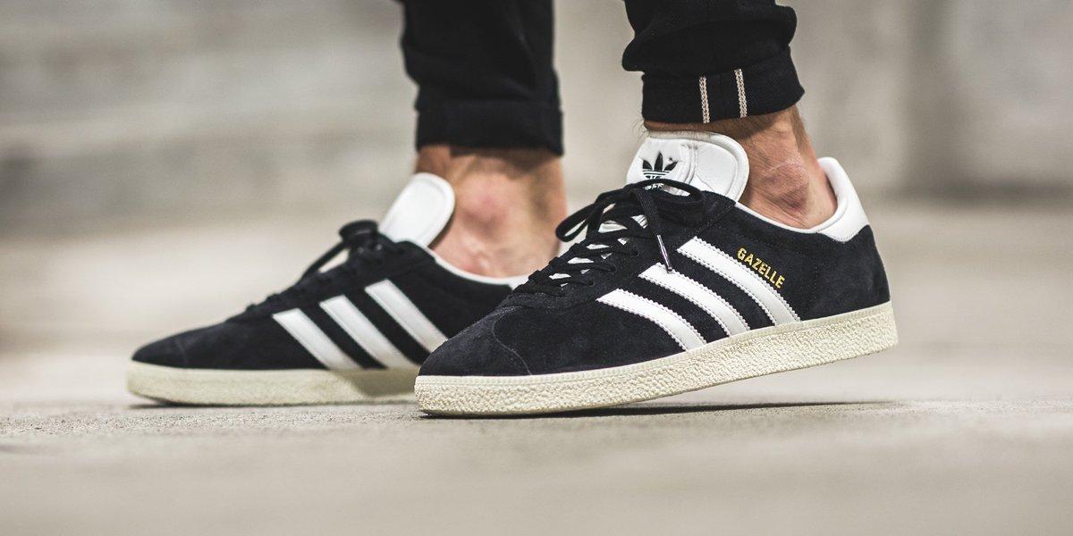 adidas gazelle black white and gold