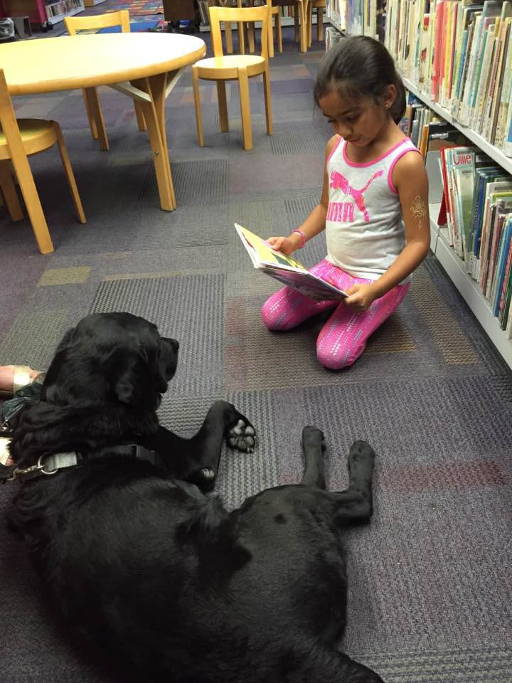 ari reading to stella, a therapy dog, at the library today https://t.co/orK6Qrytfo