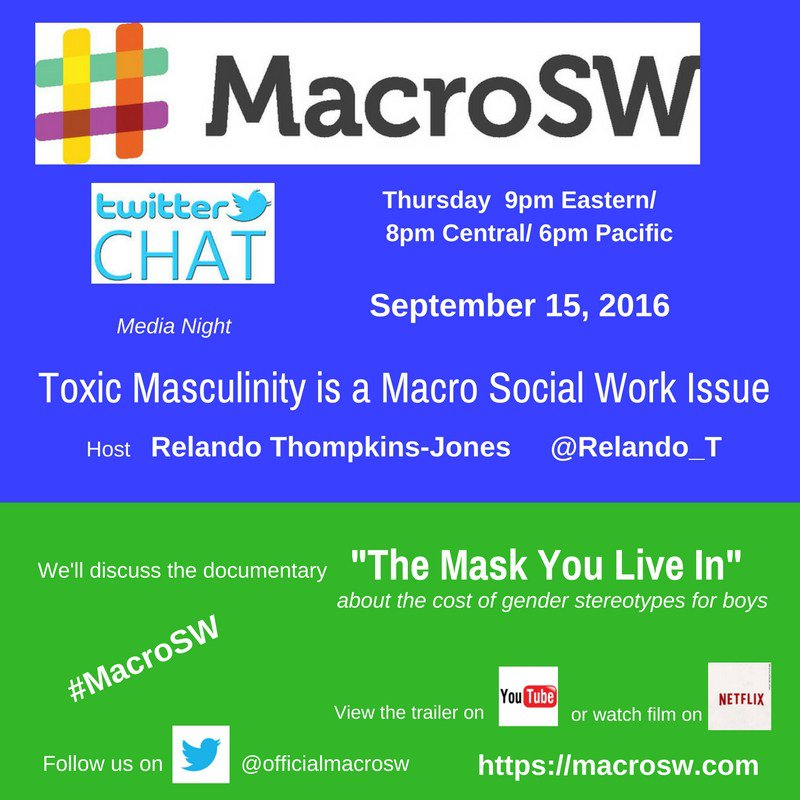#MacroSW Chat on Toxic Masculinity Sept 15th at 9pm EST https://t.co/zxxxZe851D https://t.co/9CotLkn5L4