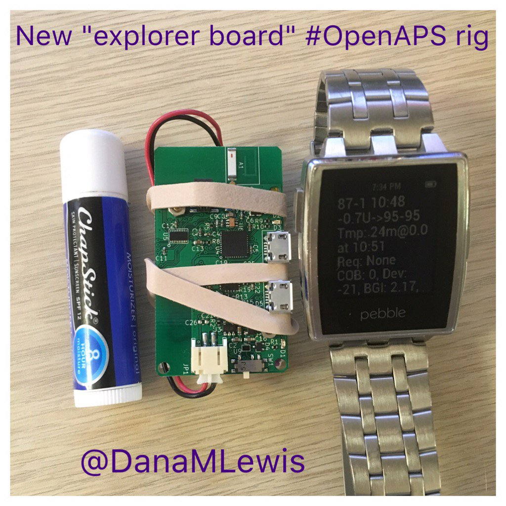 "New ""explorer board"" tiny #OpenAPS rig is live and looping! (I don't have any cases small enough for it!) https://t.co/lDpkNlF6DH"