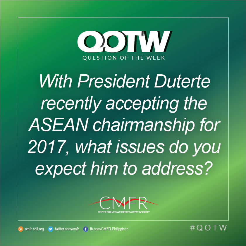 Thumbnail for QOTW: With Pres. Duterte recently accepting the ASEAN chairmanship for 2017, what issues do you expect him to address?