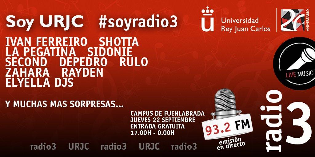 Radio 3 prepara una fiesta en la Universidad Ray Juan Carlos