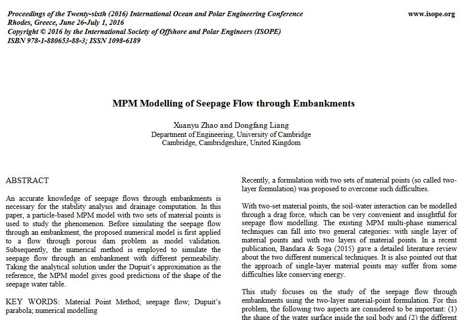 """Conference #ISOPE publication available: """"MPM Modelling of Seepage Flow through Embankments"""" http://dx.doi.org/10.13140/RG.2.2.33519.23208…"""