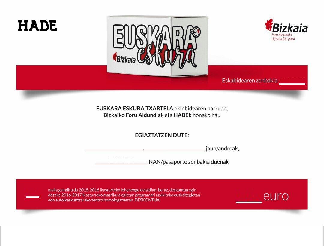 BFAko #euskaraeskura txartela eskatu duzu? Erne zure e-mailari! Bono hau jasoko duzu euskaltegian entregatzeko!