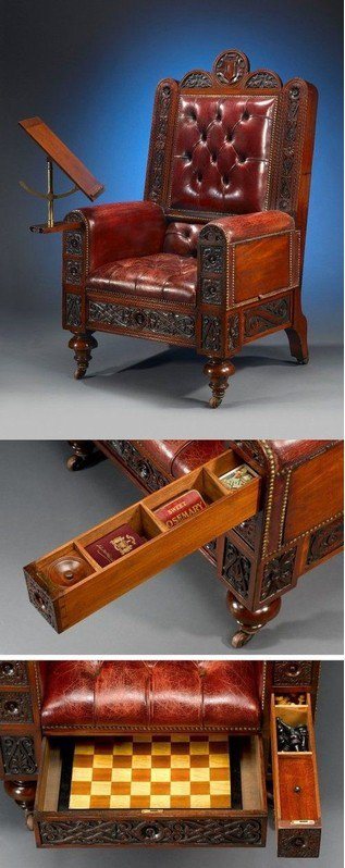 #Steampunk Awesome of the Day: Leather Chair, Carved #Wood and Hidden Drawers via @steampunkjnkies #SamaCuriosities