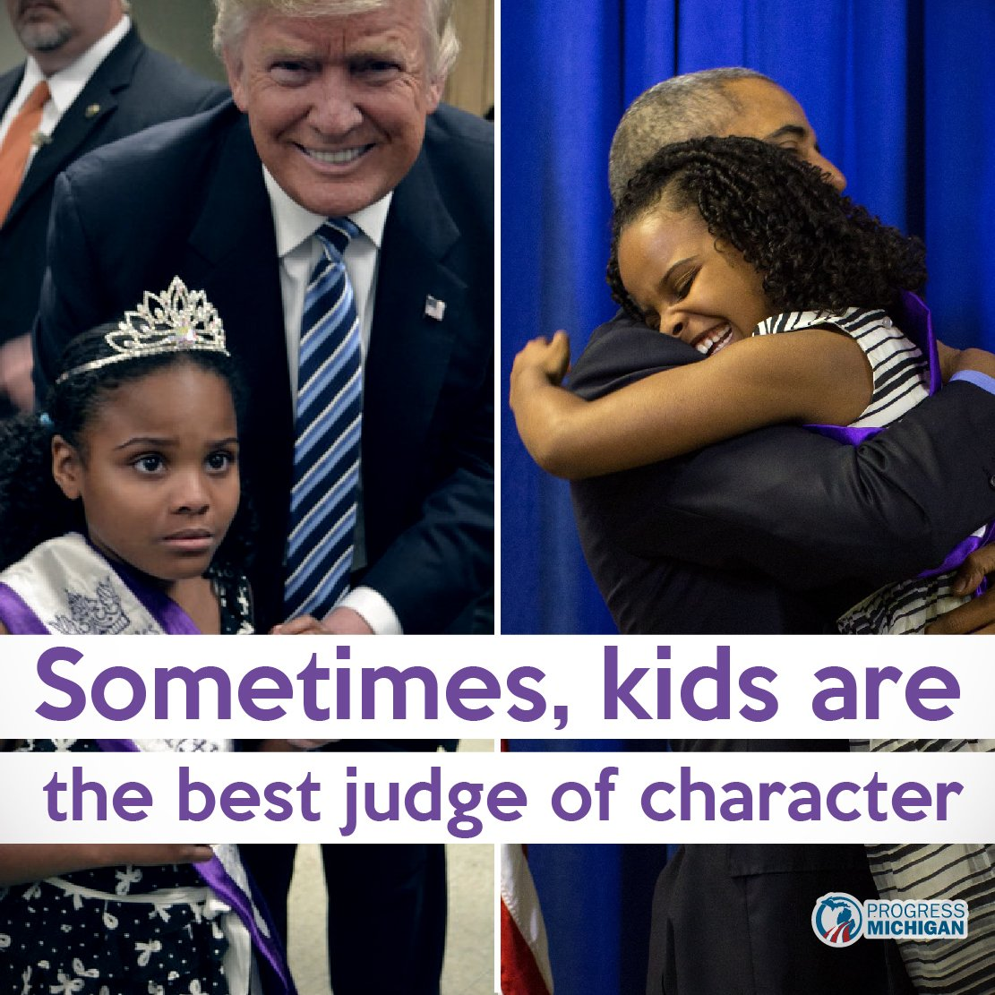 Little Miss Flint met @POTUS and @RealDonaldTrump. Her reactions say it all. #FlintWaterCrisis #Election2016 https://t.co/Z8yEUVnf7w