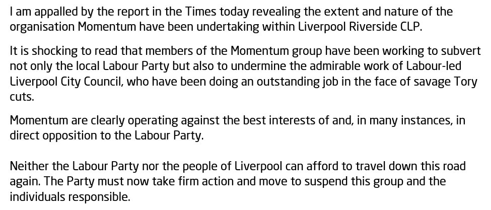 I'm appalled to read of Momentum's activity in Riverside — our party must take firm action. https://t.co/Mm0r6D8wVR https://t.co/R5dzFWovPZ