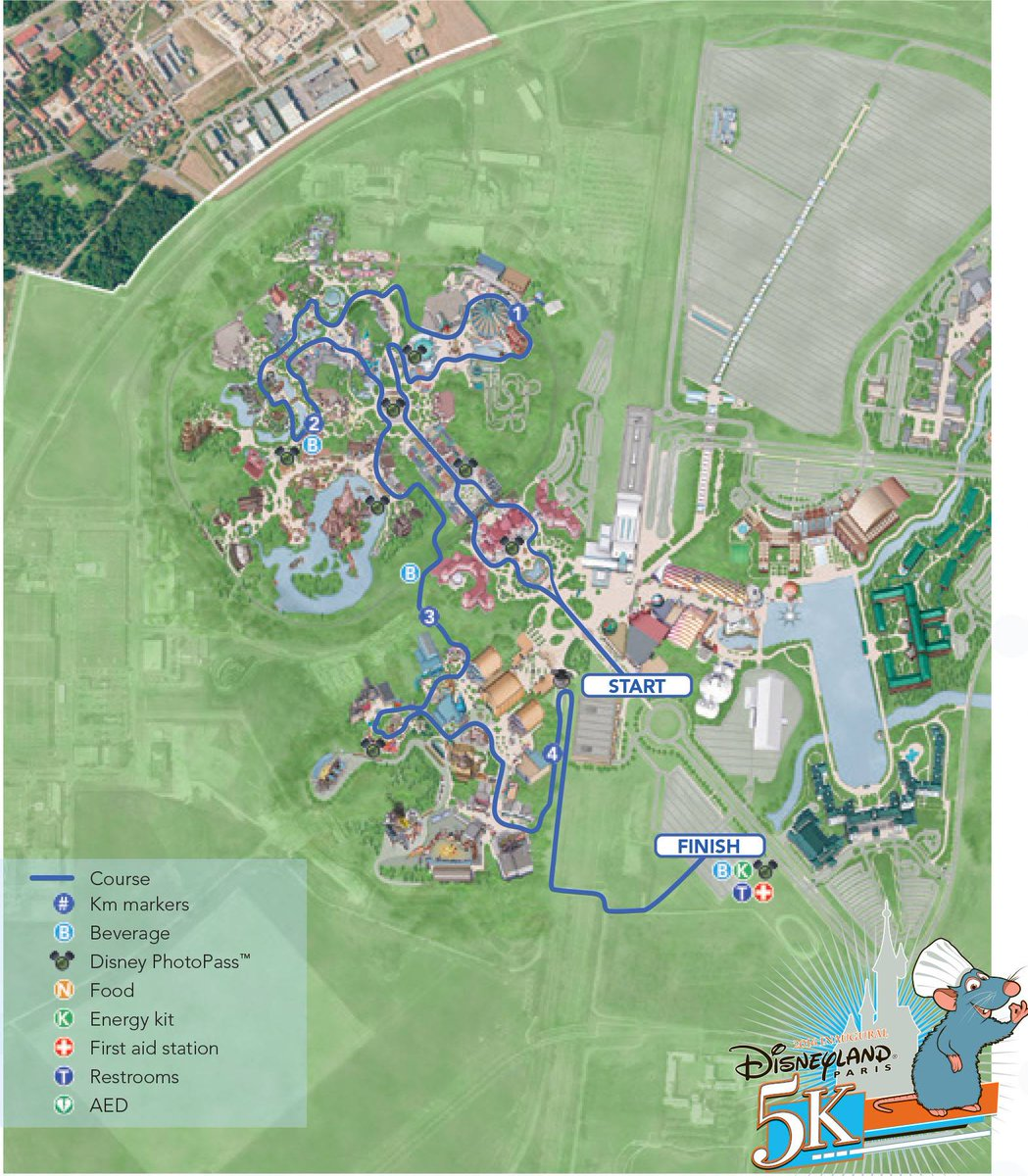 ED On Twitter Course Maps For The Disneyland Paris K And Half - Paris map 2016
