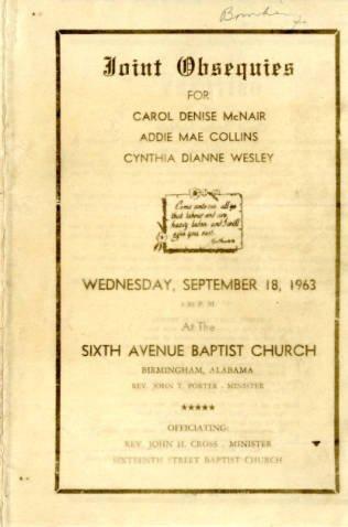 Today we remember the 4 little girls killed in the 16th Street Baptist Church bombing 9/15/63. #fourlittlegirls https://t.co/CKjq3EdDge