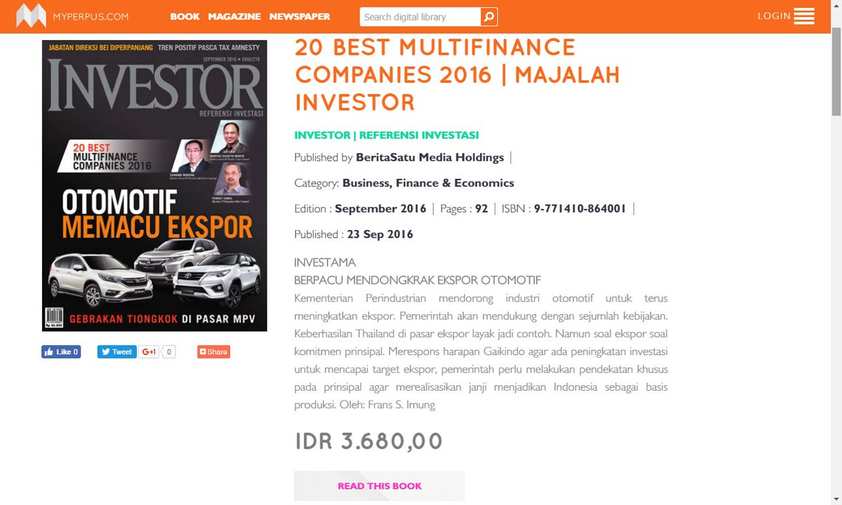 Myperpus Indonesia On Twitter 20 Best Multifinance Companies 2016
