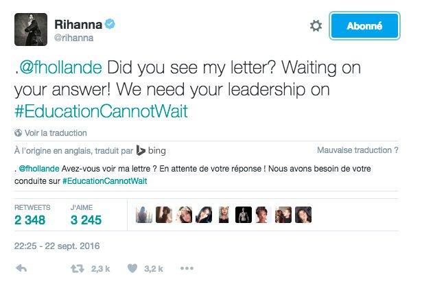Rihanna attend une réponse de sa lettre à François Hollande