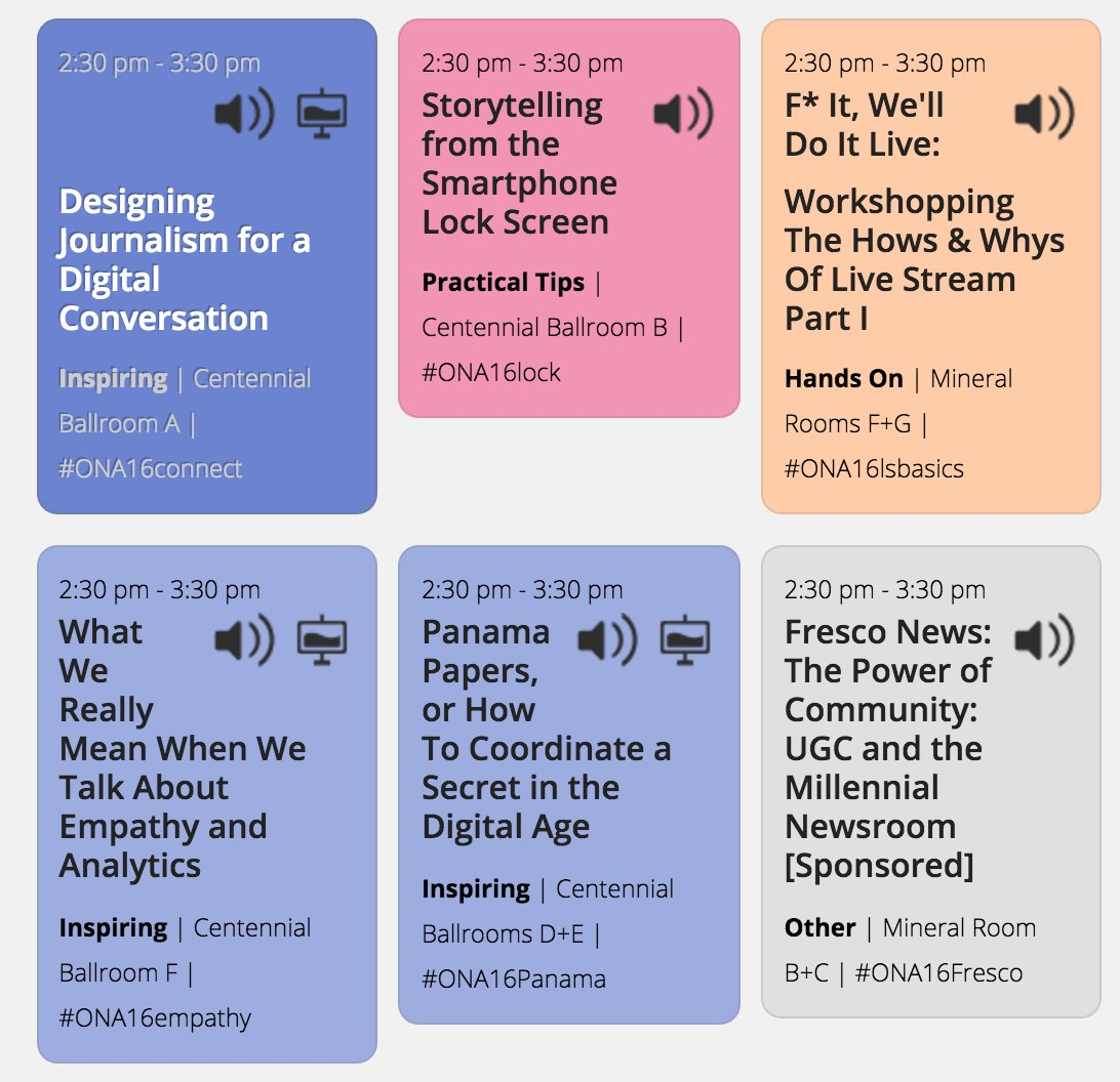 Watch sessions at #ONA16 by clicking through sessions with a screen icon on the schedule. https://t.co/UX19QY2D6d https://t.co/IqaLicxv0Z