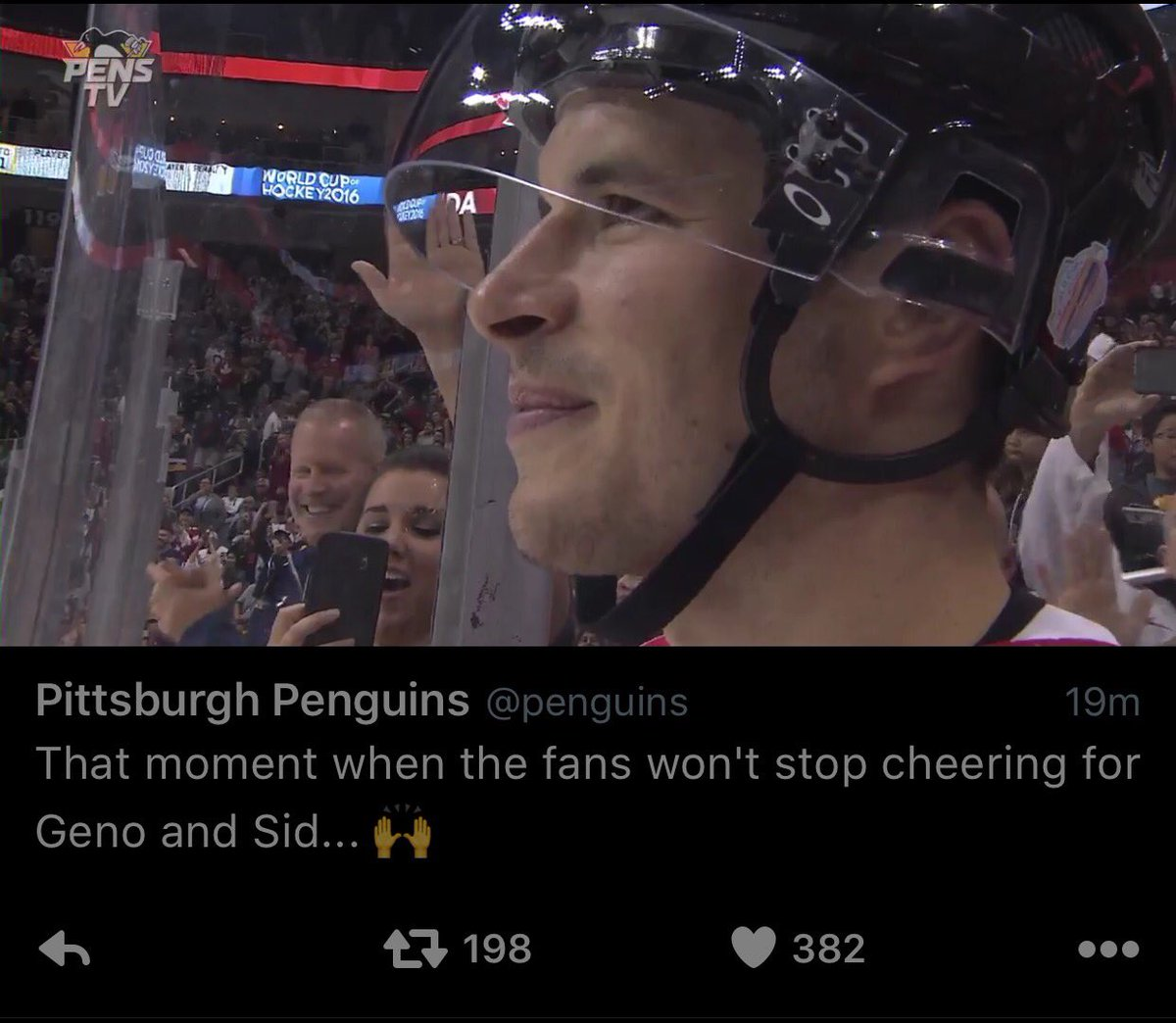 .@penguins Love this moment! Crosby loves Pittsburgh just as much as Pittsburgh loves Crosby. #WCH2016 #Pens https://t.co/PWg90C5kzp