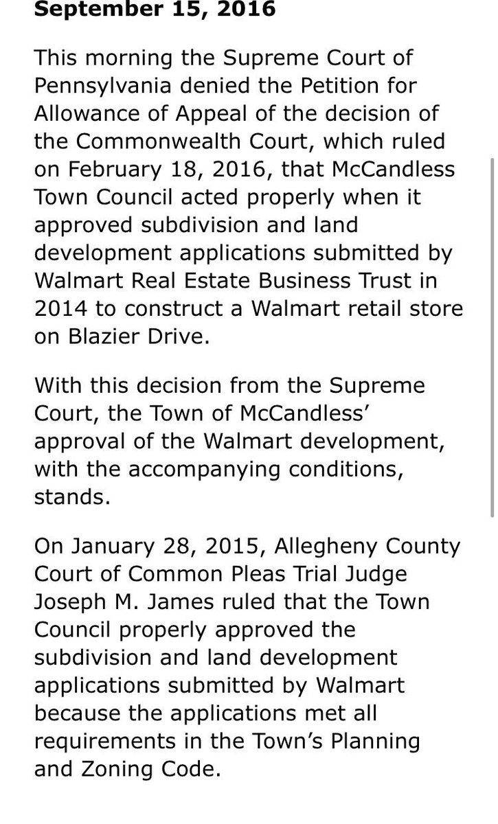 912e3297b SupremeCtofPA denies appeal in  McCandless  Walmart case.  WPXI   McCandlessCitiz  pittsburgh  Walmart…