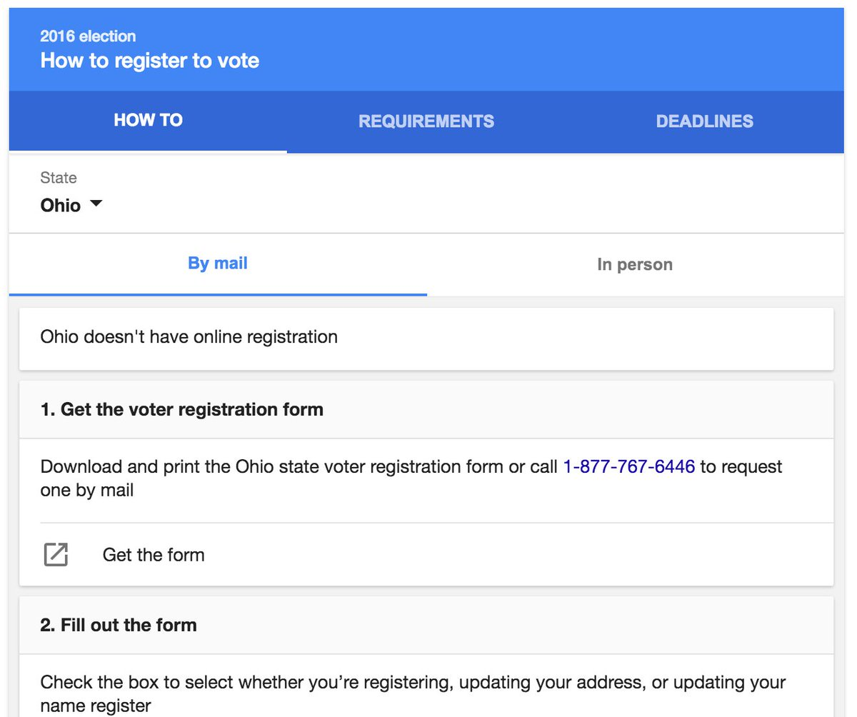 "Did u know about @Google's voter regist tool? Google ""register to vote."" Choose state. Follow steps. Share w/friends https://t.co/fYOGSRY1ZX"