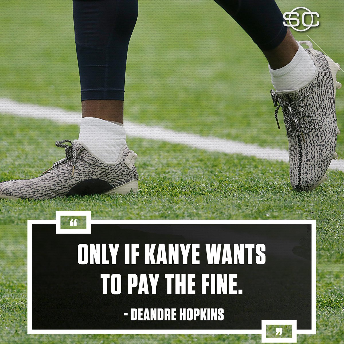 Texans' DeAndre Hopkins was fined $6,000 for wearing Yeezy cleats. His response to whether he'd wear them again = 🔥