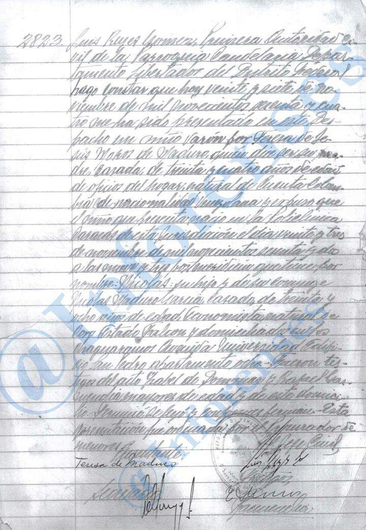 Se filtra la partida de nacimiento de Nicolás Maduro (+Imagen ...