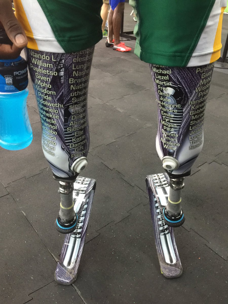 The legs of Ntando Mahlangu last night. The names of those who have helped him are painted on. @IOLsport https://t.co/khAlxhlVCa