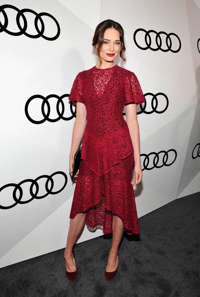 e60b7beb24b390 Mallory Jansen wore a berry  RebeccaVallance Spring 2016 Dolce Vita Frill  midi dress to Audi s