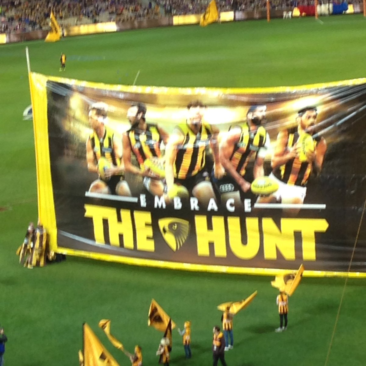 Judging by most Hawks fans I know, this banner has a spelling mistake. #AFLHawksDogs https://t.co/uEqgFZIdVj