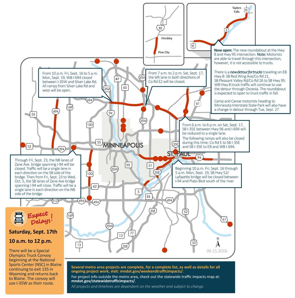 Mndot On Twitter Weekend Traffic Impact Maps Twin Cities Https