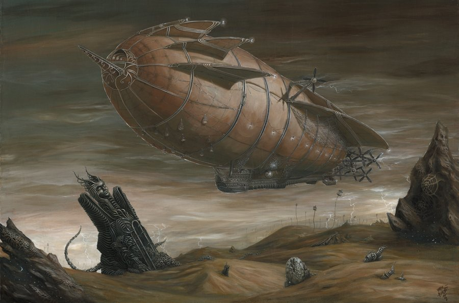 #Illustration Awesome of the Day: #Steampunk Airship Exploring A Desert Wasteland by @MykeAmend v @mythania #SamaArt