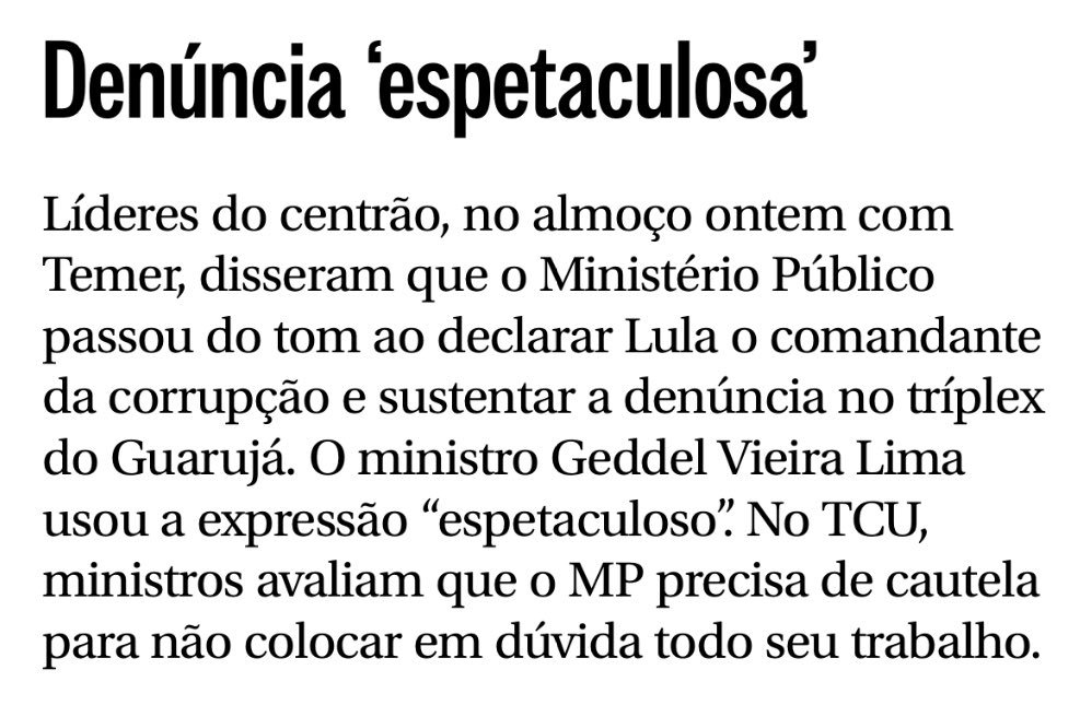 O Centrão de Cunha e até o lugar-tenente de Temer, Geddel, consideram 'espetaculosa' atuação do militante Dallagnol: