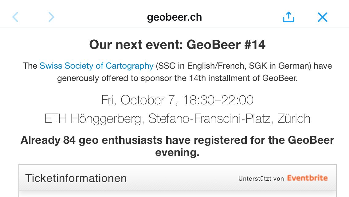 The next @GeoBeerCH is @ETH?! Pitty, I won't make it then. But there are still places left: https://t.co/9Hd03eHtjE https://t.co/SkvdukHl3u