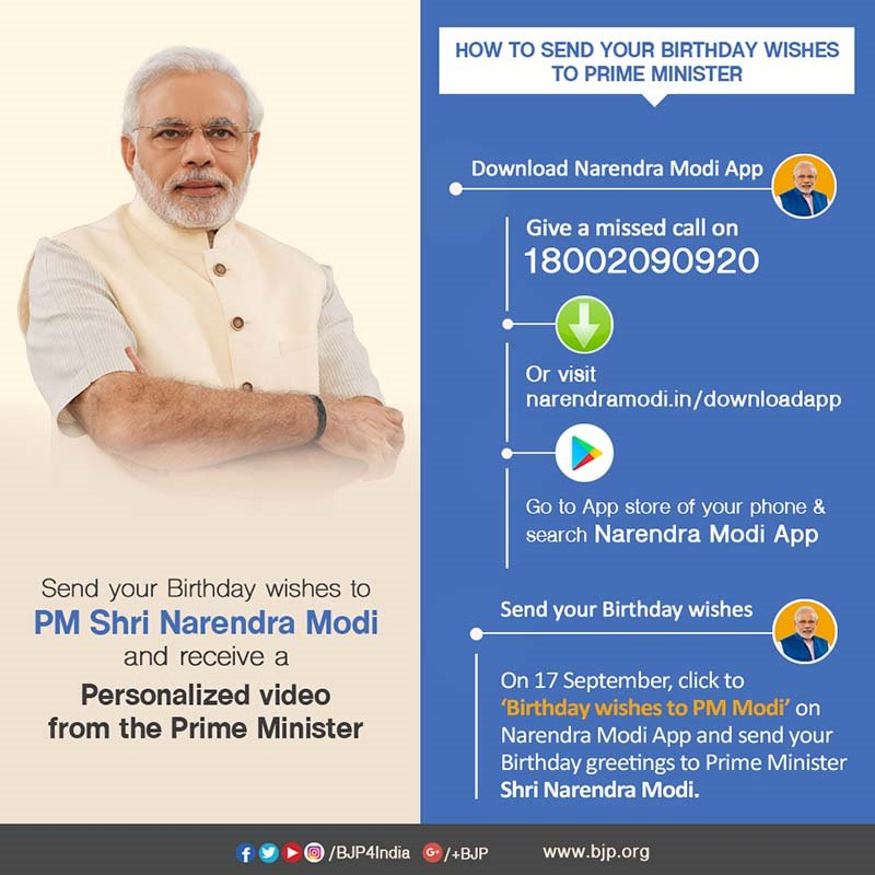 NarendraModi App On Twitter Download Namo And Send Birthday Wishes To Our PM Narendramodi Ji Receive A Personalized Video From The