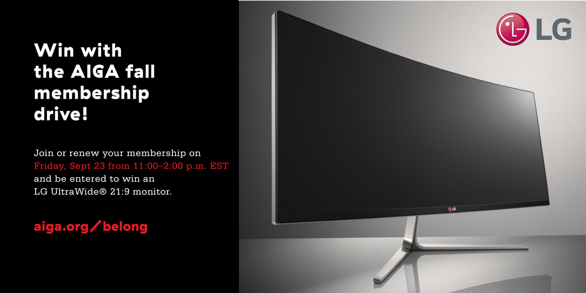 Join/renew @AIGAdesign NEXT FRI 11-2pm ET + be entered to win @LGUS monitor https://t.co/WvRvxBtWXW #AIGAbelong https://t.co/Uv9QzCD4pb