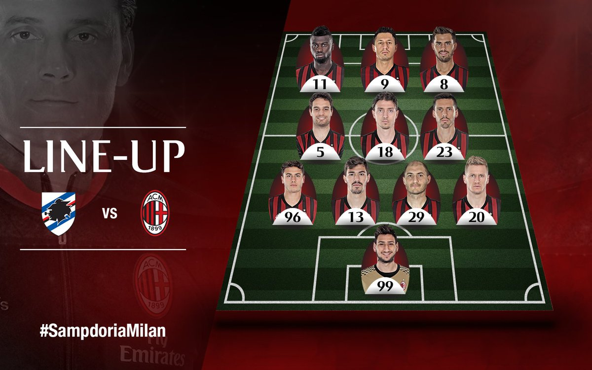 #ACMilan's starting XI for tonight's match Gli 11 titolari contro la @sampdoria #SampdoriaMilan