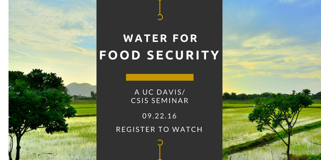 Rolling out our big events: We talk with @UCDavisWater, @ifpri, @USAID, @AspenInstitute at @CSISFood online 9/22 https://t.co/5ekTt3ihfT