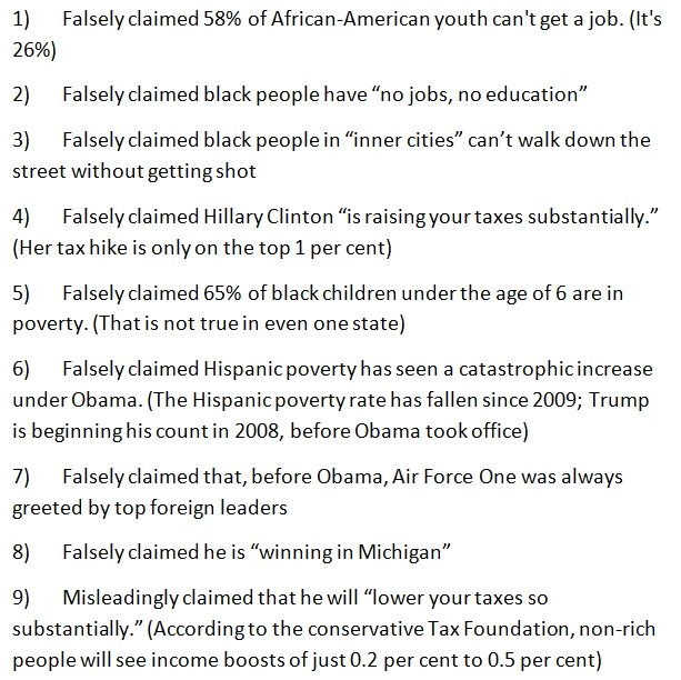 Donald Trump just did a speech in Miami. He said eight false things.
