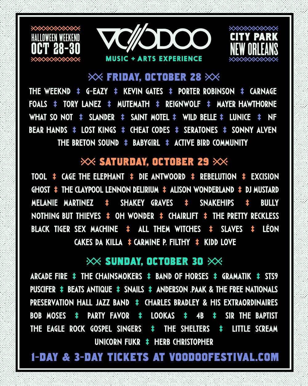 The #VoodooFest Lineup by Day is out! Grab a 1-Day or 3-Day Ticket and come hang - https://t.co/va1Gd1A5ch https://t.co/VOtU2EpyXi