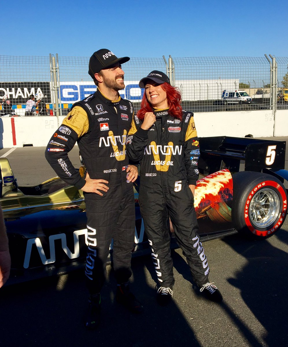 Looks like @SharnaBurgess enjoyed her 2-seater #IndyCar drive around @RaceSonoma with @Hinchtown at the wheel. #DWTS https://t.co/XCFIyzFrwO
