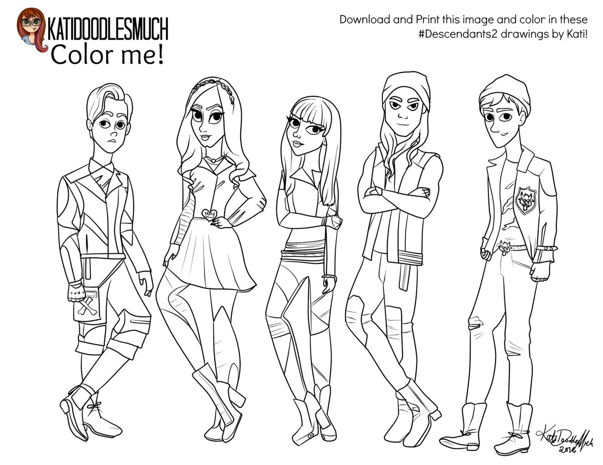 Massif image intended for descendants 2 coloring pages printable