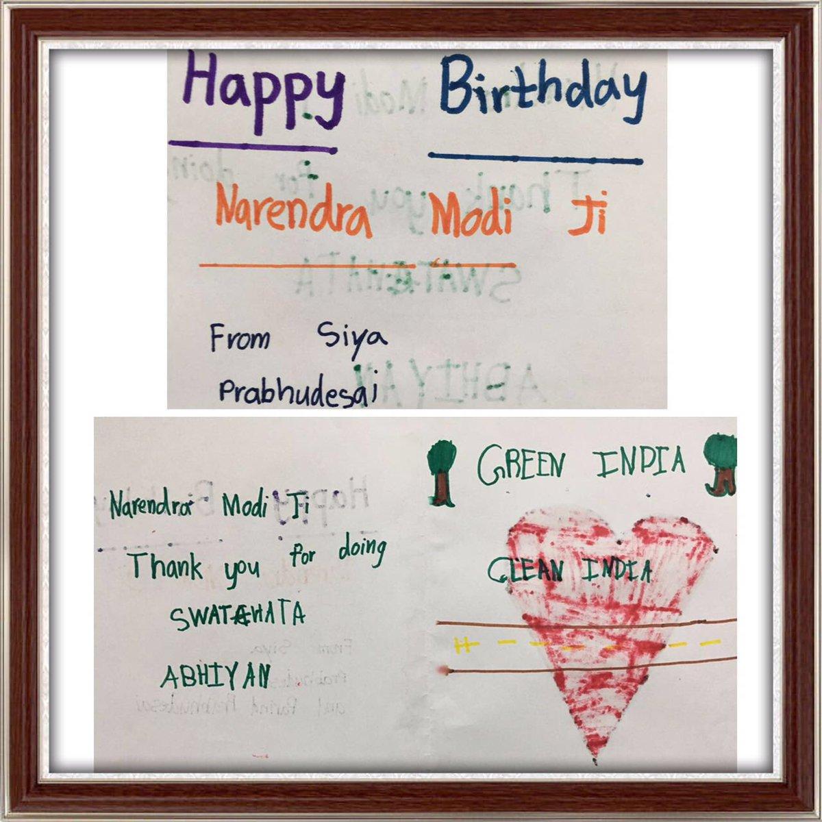 Parind Prabhudesai On Twitter HappyBdayPMModi Birthday Wishes From My 7 Years Old Daughter Siya Narendramodi