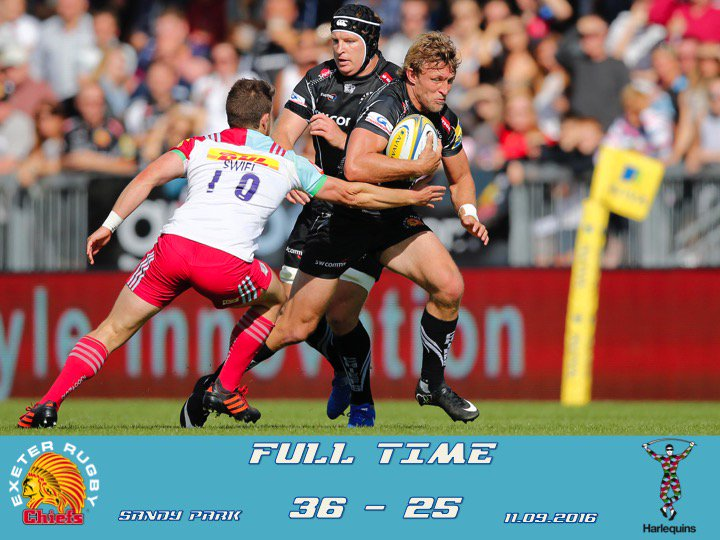 FULL TIME - Exeter Chiefs 36  Harlequins 25  Report and Reaction to follow shortly