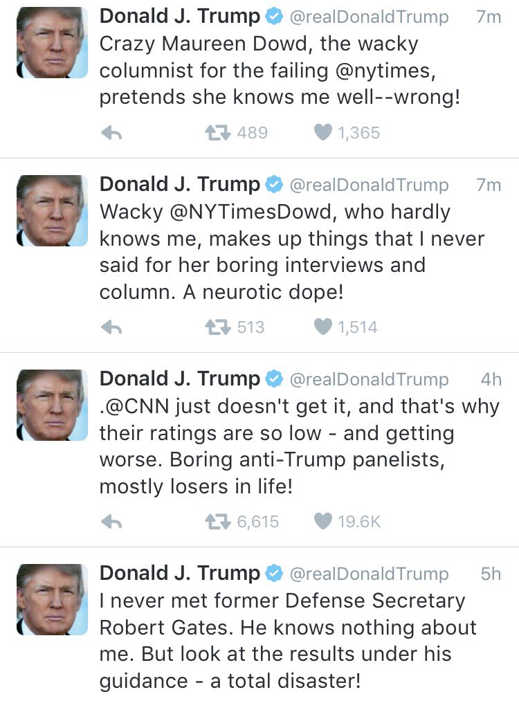You can dislike Dowd, CNN or Gates and still acknowledge this is insane behavior for a person running for President. https://t.co/ZlZjigQR2y
