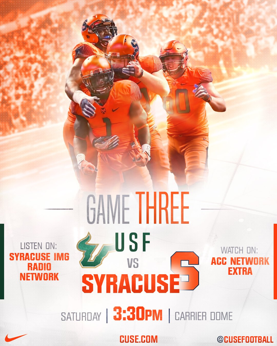 Good luck to @Cuse football as they face USF! Let's Go Orange! https://t.co/AfMTmGUzsP 🍊🏈 #USFvsCUSE #OrangeCentral https://t.co/nTwPMaViuA