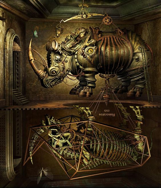 #Artwork Awesome of the Day: #Steampunk Mechanical Rhinoceros by Kazuhiko Nakamura via @MadQueenStorm #SamaArt