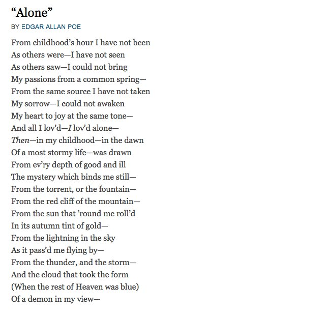 analysis of alone by poe Edgar allan poe is a well-known yet commonly misunderstood author this is primarily due to his own personal tragedies that he suffered throughout his youth.