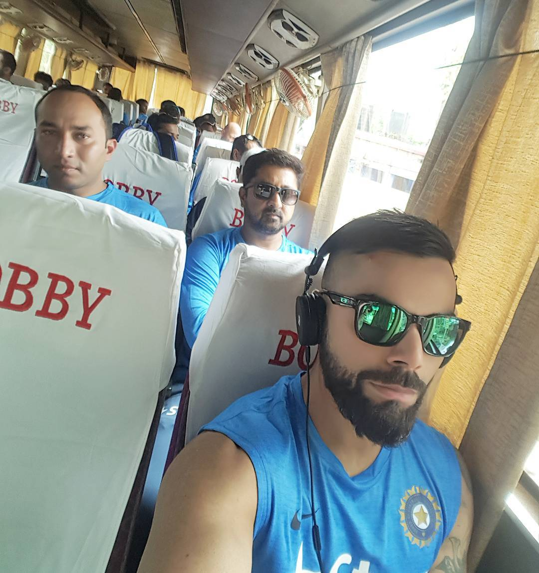 Back to the team bus! Some of the best jokes and memories are courtesy the team bus. #TeamIndia #TeamBusDiaries