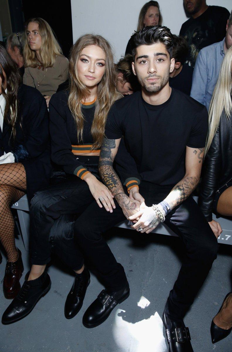 Model, @GiGiHadid & @zaynmalik on the front row at #Versus @Versace last night #LFW https://t.co/5AFQqU7Lrj